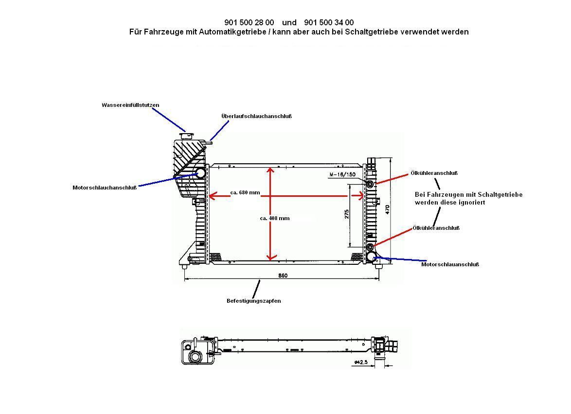 Wasserkühler Kühler Kühlmittel Motorkühlung für Mercedes Sprinter 901 902 903 ..