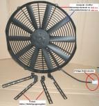 Lüfter, 12V Universal E-Hochleistungslüfter Kit (groß), Rahmen 385 mm - Ziehend