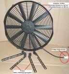 Lüfter, 12V Universal E-Hochleistungslüfter Kit (klein), 410 mm Ziehend